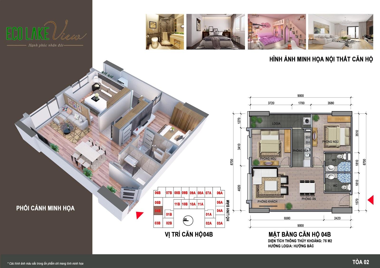 Thiết kế căn hộ 04B - 75m - HH02 Eco Lake View