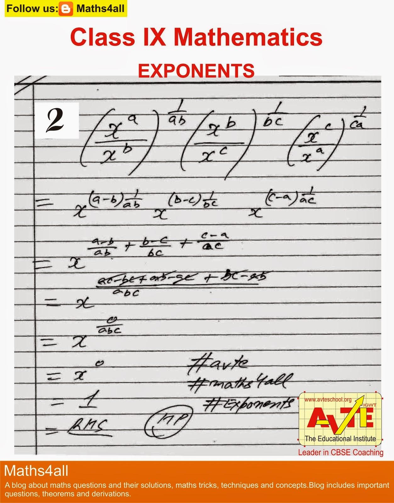 Maths4all Class Ix Mathematics Exponents Important Question 2