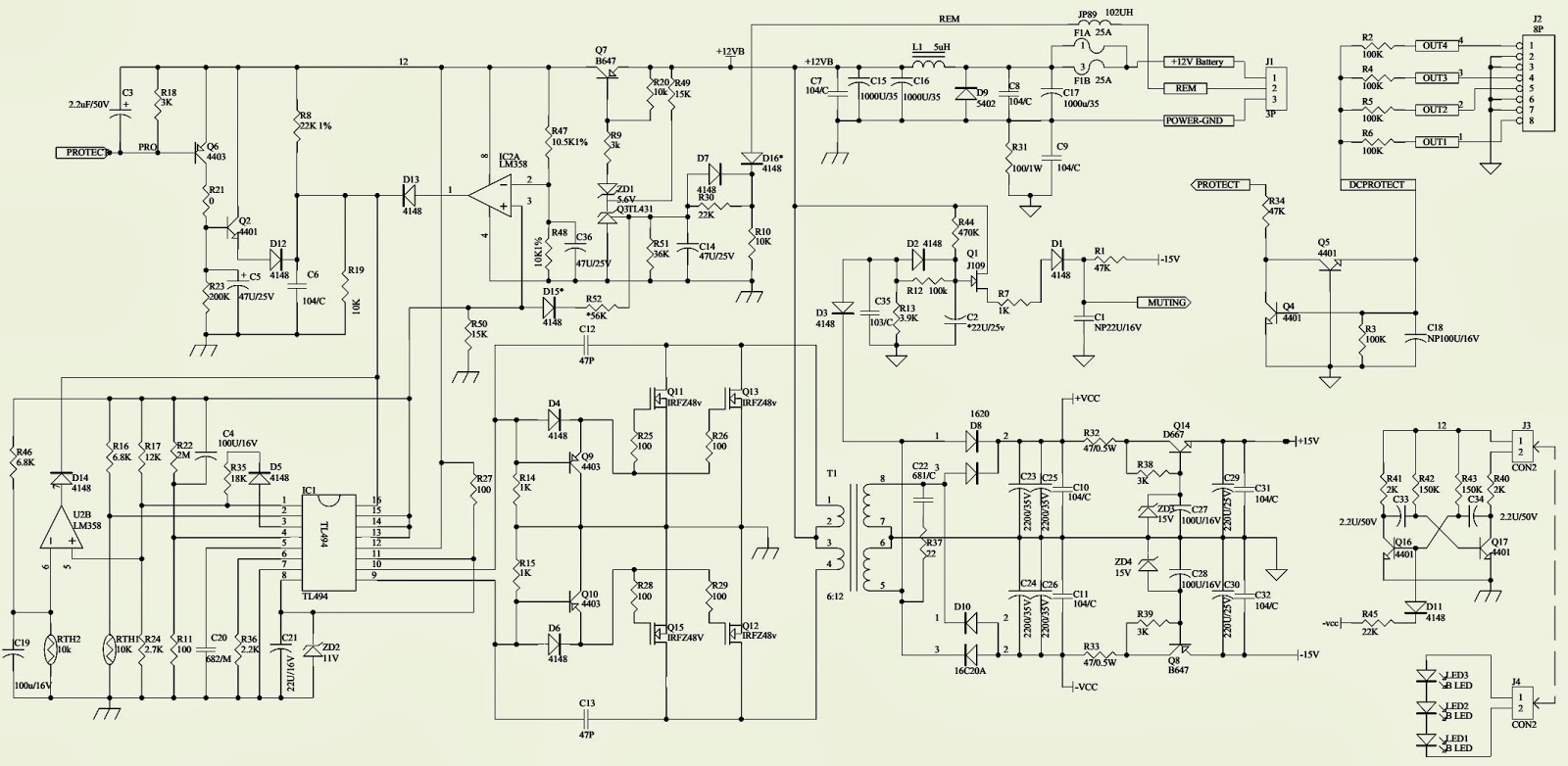 4 Channel Amp Wiring Diagram 2006 Jeep Wrangler Jbl Cs 60 4channel Power Amplifier Schematic