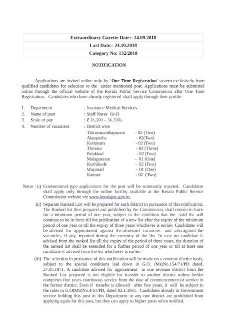 Kerala Public Service Commission (KPSC) invites application for the post of Staff Nurse