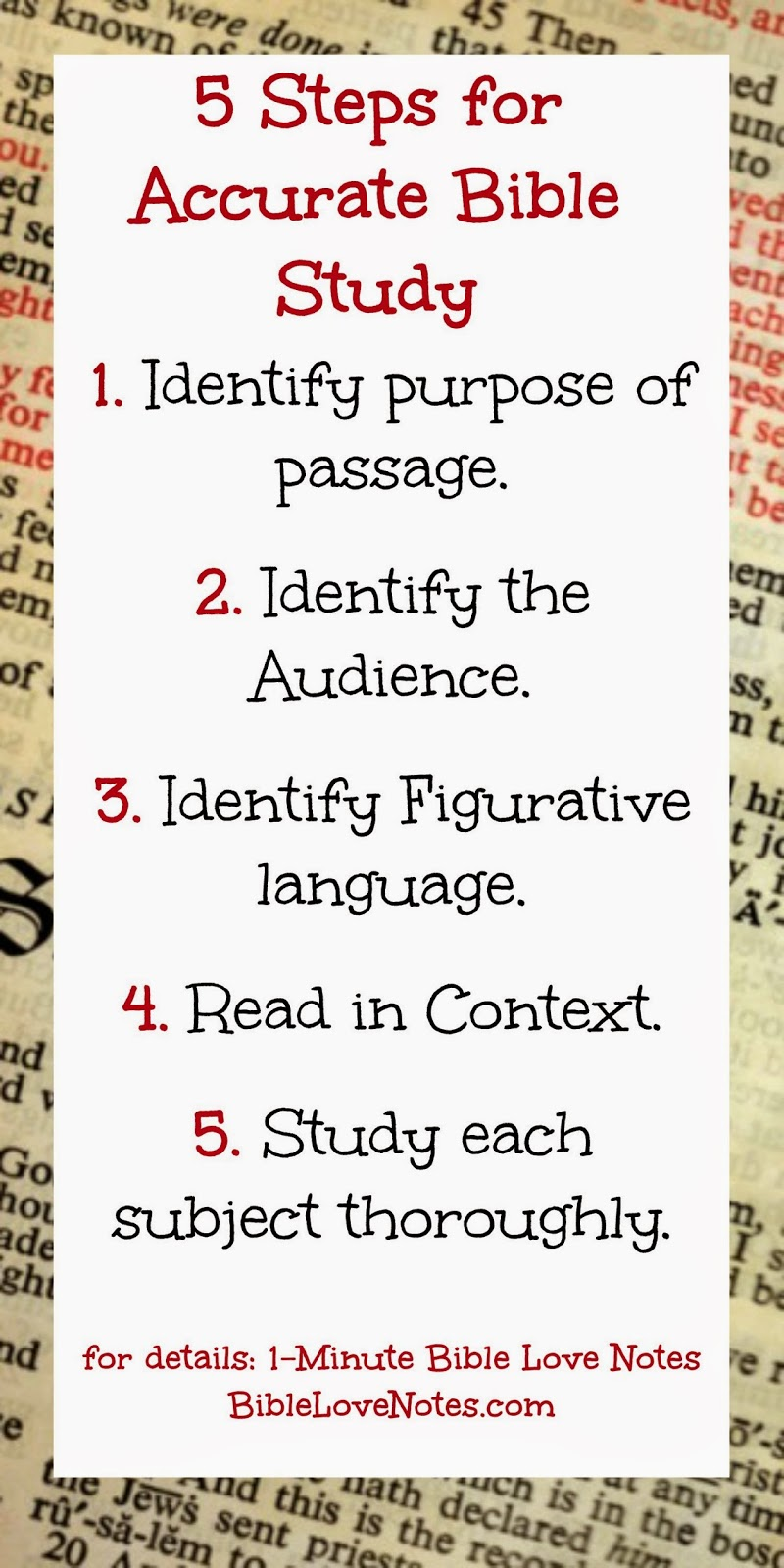 5 Steps for Bible Study, Identify audience, author intent, figurative language in Bible, Context
