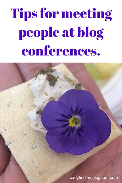 Flower and cheese on biscuit, captioned: tips for meeting people at blogging conferences.