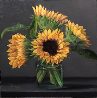 yellow sunflowers, sunflower bouquet, oil painting, still life