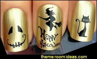NAIL ART WATER DECALS TRANSFERS STICKERS HALLOWEEN WITCH PUMPKIN