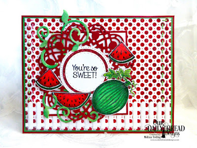 Our Daily Bread Designs Stamp Set:Thanks A Melon, Our Daily Bread Designs Custom Dies: Watermelon, Doily, Foliage & Leaves, Circles, Pierced Circles, Double Stitched Circles, Fence, Our Daily Bread Designs Paper Collection: Patriotic