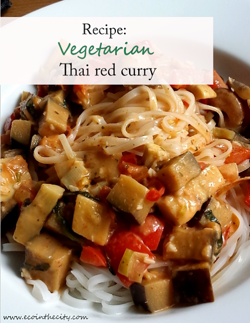 Recipe for vegetarian Thai red curry with noodles