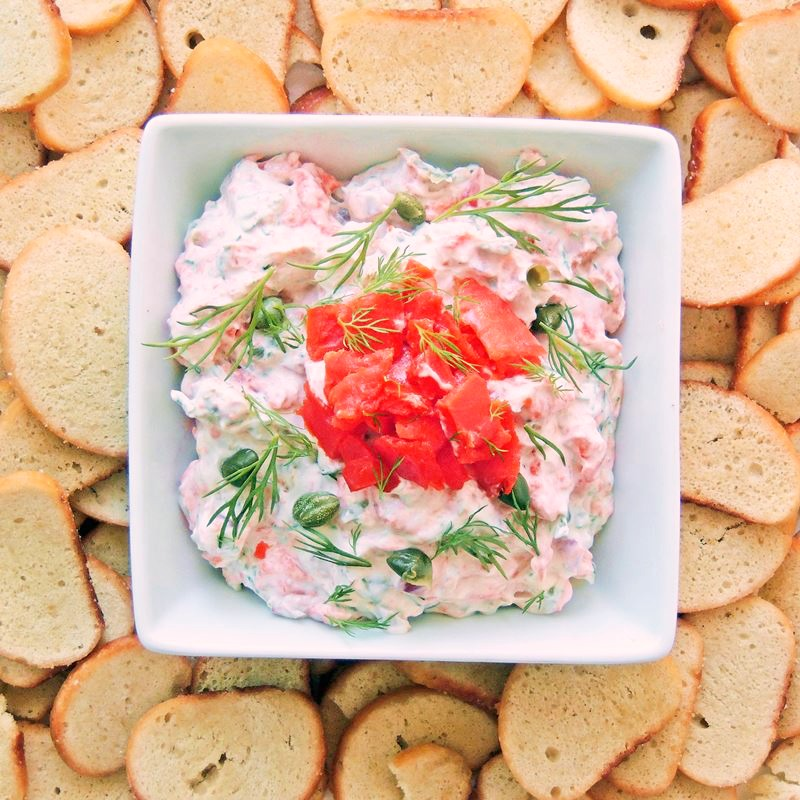 Smoked Salmon Dip (Keto Friendly) | Everything you love about a smoked salmon bagel is all wrapped up neat and tidy in this delicious dip recipe. Use fresh cut bell pepper slices, celery sticks, or even pork rinds, to make this a great Keto friendly appetizer. #appetizer #dip #keto #LCHF #smokedsalmon #salmon #easy #recipe | bobbiskozykitchen.com