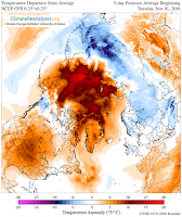 The temperature forecast for the next five days in the Arctic shows unrelenting warmth, which will continue to slow sea ice growth. (Credit: Climate Change Institute) Click to Enlarge.