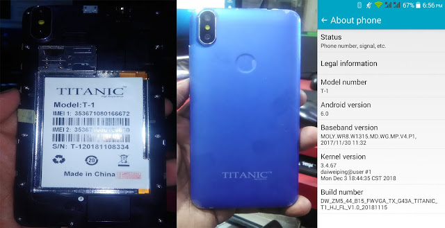 TITANIC T1 Hang Logo Lcd Fix Official Flash File