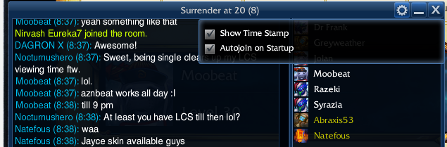 League chat rooms