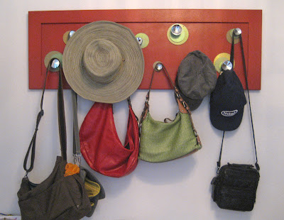 upcycled hat and purse hanger