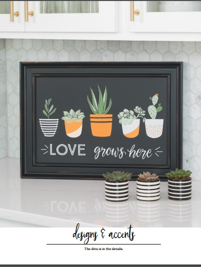 Vintage Paint and more... Chalk Couture image of Love grows here transfer used on a 9x12 framed chalkboard