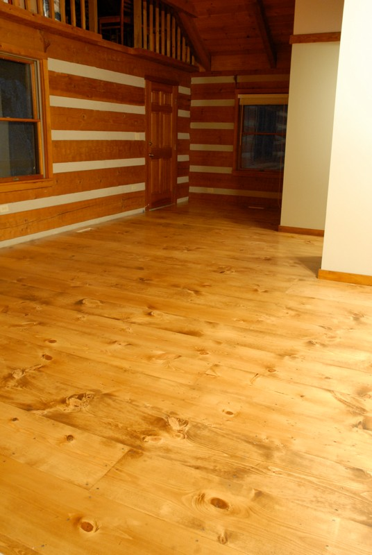 "How to DIY finish 12"" wide plank pine floors using water based Bona system, Bona Amberseal, Bona Mega. Why we chose waterbased floor finish"