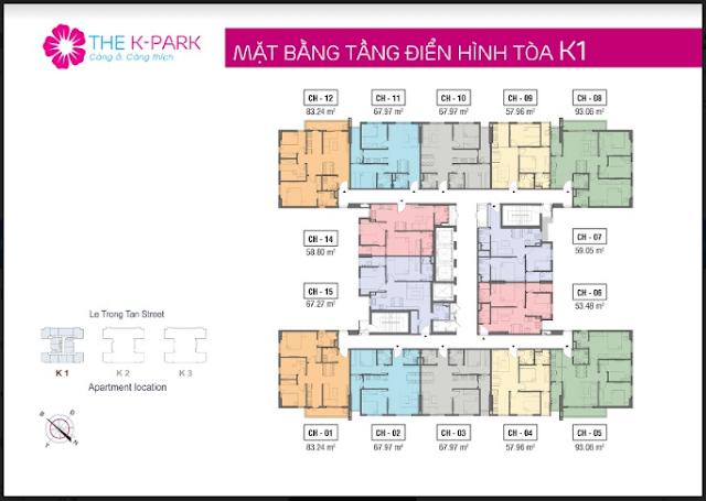 Mặt bằng căn hộ điển hình K1