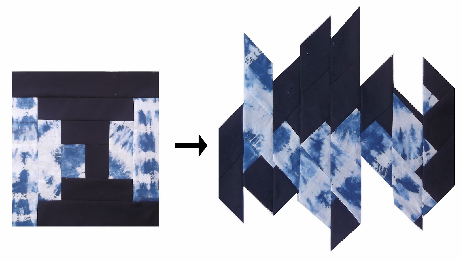 μοντέρνο patchwork, αφηρημένο patchwork, μπλέ patchwork, log cabin patchwork, patchwork μαθήματα
