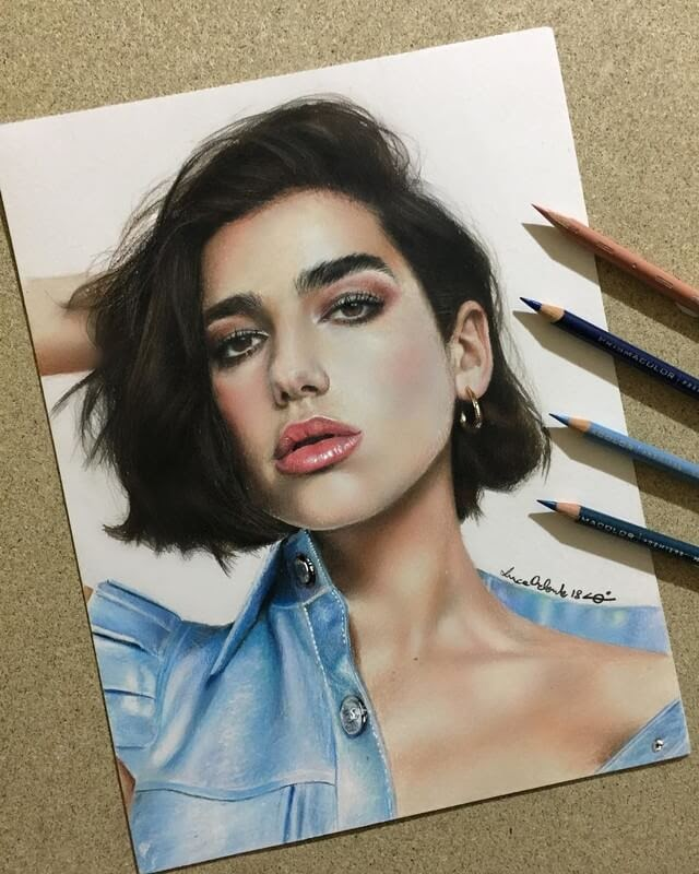 09-Dua-Lipa-Luca-Orlando-Celebrity-Drawn-with-Colored-Pencils-www-designstack-co