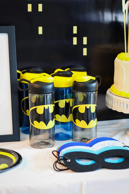 Batman Water Bottles and Superhero Masks at a Batman Party