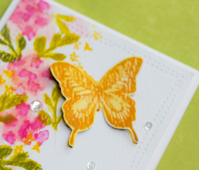 a sneak peek at a Watercolor card with #stampersanonymous stamps