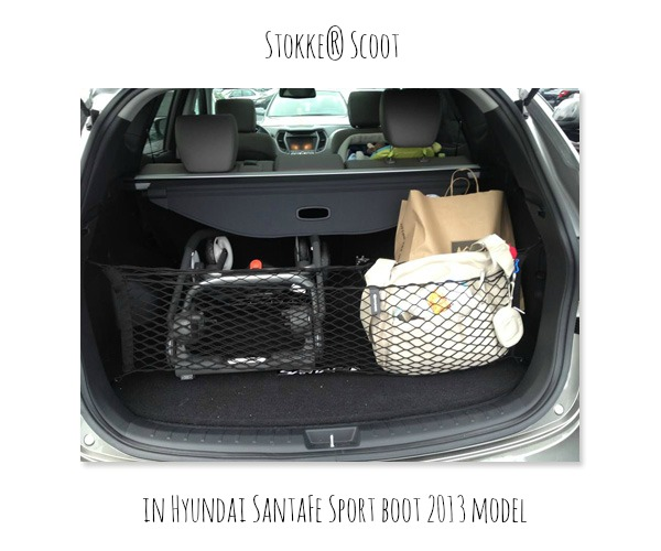 Stokke Scoot in Hyundai SantaFe Sport boot