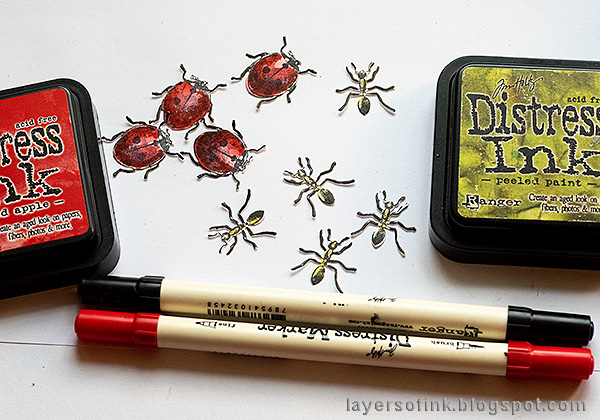 Layers of ink - Springtime Altered Tin Tutorial by Anna-Karin Evaldsson. Coloring the ladybugs and ants.