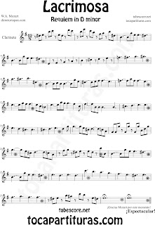 Partitura Fácil  de Lacrimosa para Clarinete by Sheet Music for Clarinet Requiem by Mozart Music Scores