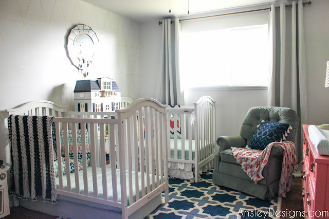 Navy, Coral, & Mint Green Girls Shared Nursery