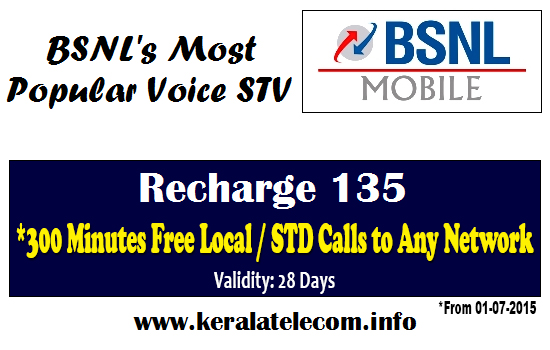 BSNL Kerala Circle to change Recharge 135 (STV VOICE135) to Per Minute Billing from 1st July 2015 onwards