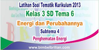 Soal Tematik Kelas 3 SD Tema 6 Energi dan Perubahannya Subtema 4 Penghematan Energi dan Kunci Jawaban