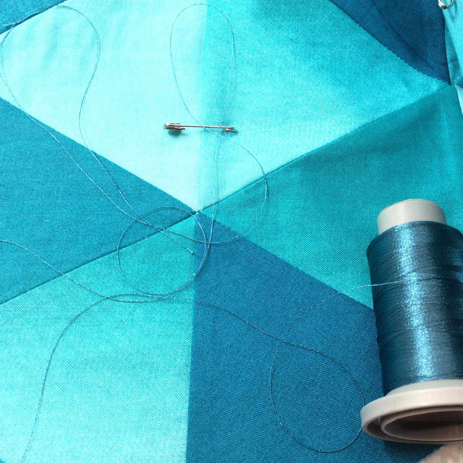Free Motion Quilting with Rulers Teal Triangles