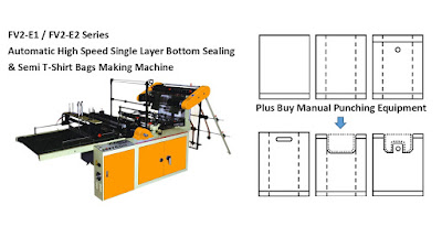 Single Layer Bottom Sealing & Semi T-Shirt Bags Making Machine