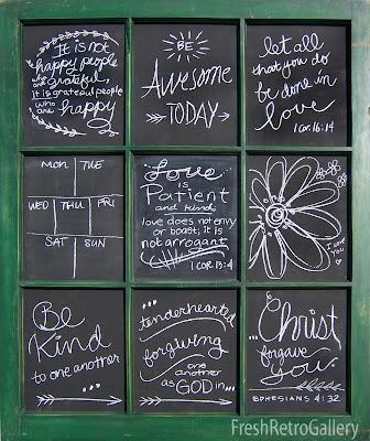 9-pane window found at an estate sale with chalk art
