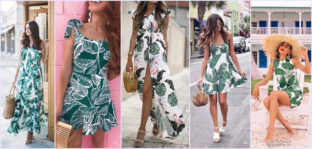vestidos estampa de folhas