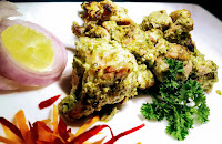 Green Chermoula chicken Tikka serving with garnish Food Recipe Dinner ideas