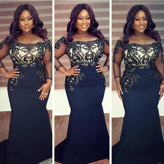Toolz steps out in beautiful black dress for Sunday