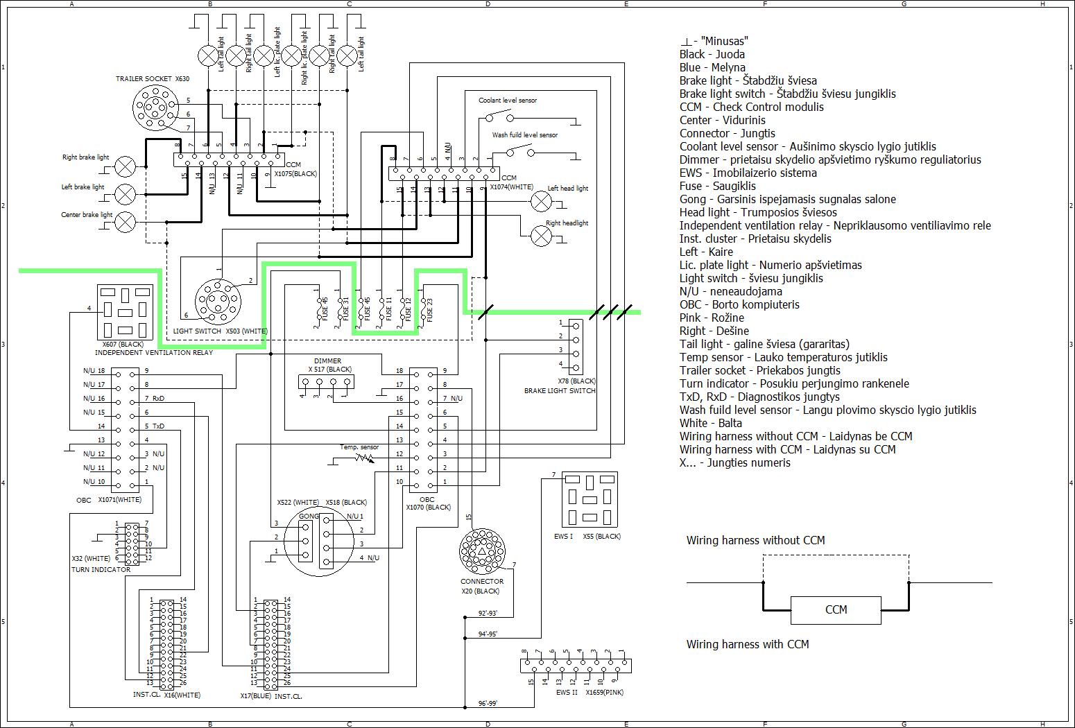 bmw e36 7 button obc wiring diagram