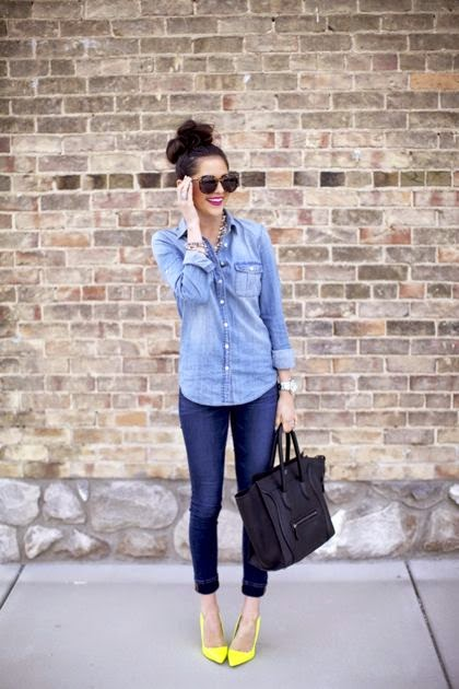 Wearing a Denim on Denim with a Pop of Yellow
