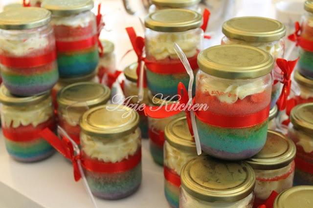 Rainbow Cake In Jars