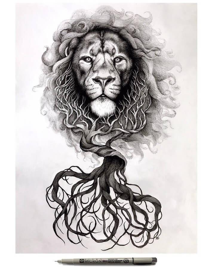12-Lion-Alyse-Dietel-Animal-Drawings-Surrealism-www-designstack-co