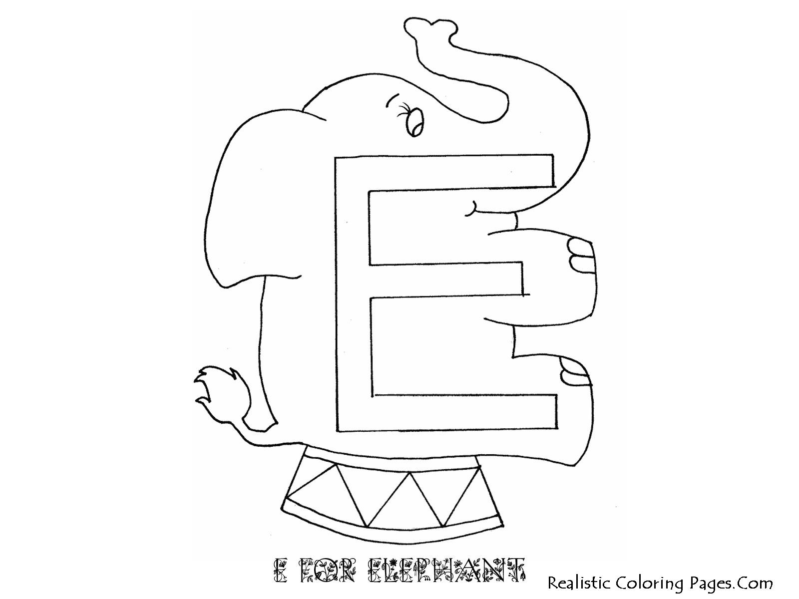 E Letters Alphabet Coloring Pages