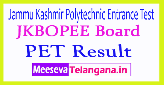 Jammu Kashmir Polytechnic Entrance Test PET Result 2018