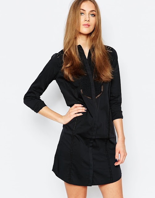 warehouse black shirt dress, black lace shirt dress,