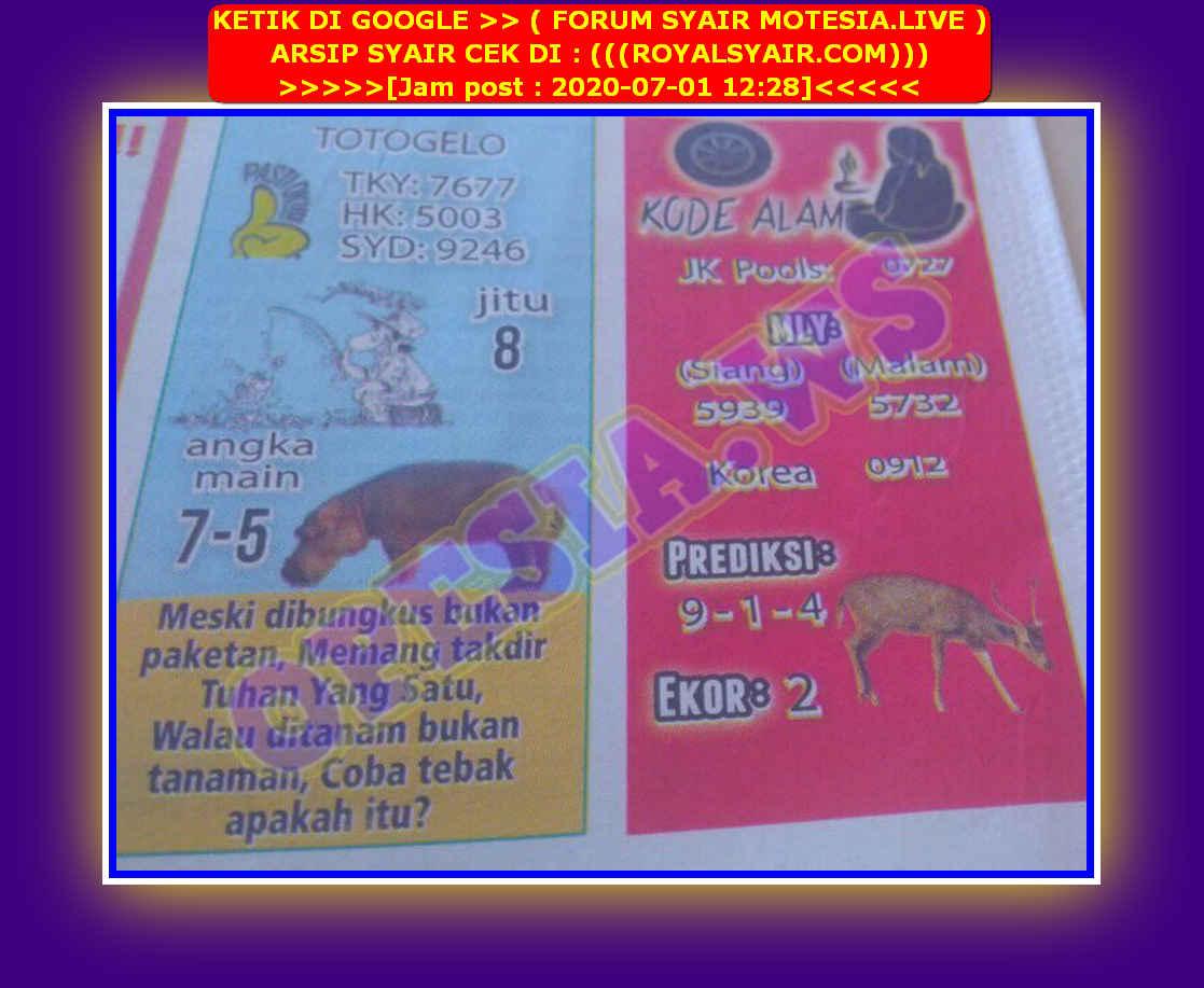 Kode syair Singapore Rabu 1 Juli 2020 34