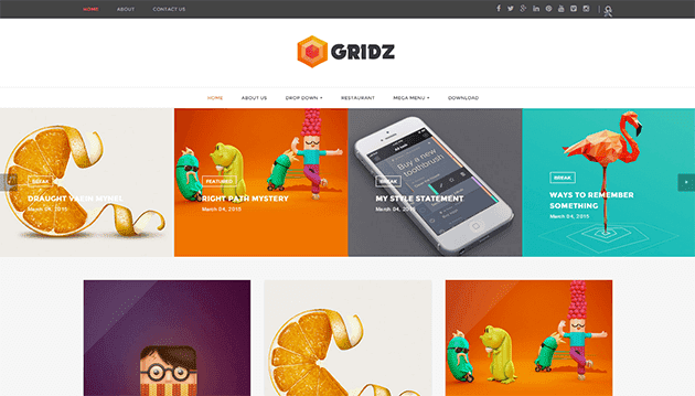 Share Theme Gridz Responsive Blogger chuẩn seo | Theme Website