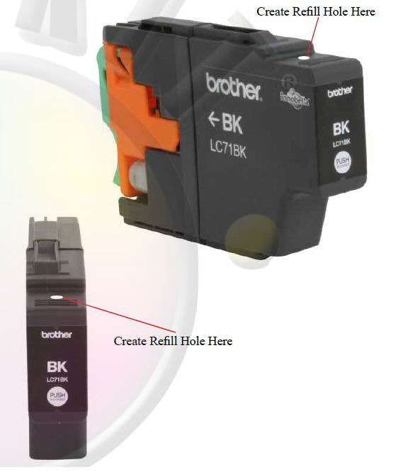 How to refill inkjet Brother Cartridges type IN-700, LC11BK