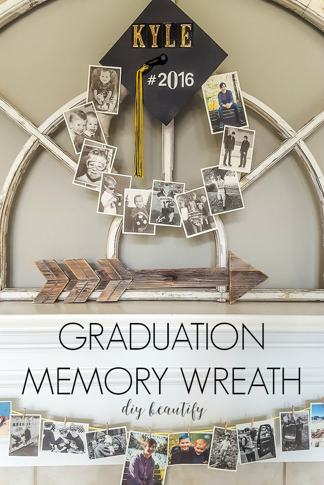 Create a graduation memory wreath and watch your child grow up right before your eyes! This wreath is perfect for graduation parties and is so simple to make! Visit diy beautify for the tutorial.