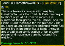 naruto castle defense 6.0 Toad Oil Flamethrower detail