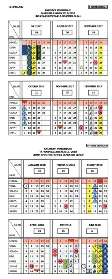Kalender Pendidikan 2017 2018 Provinsi Jawa Tengah Jenjang