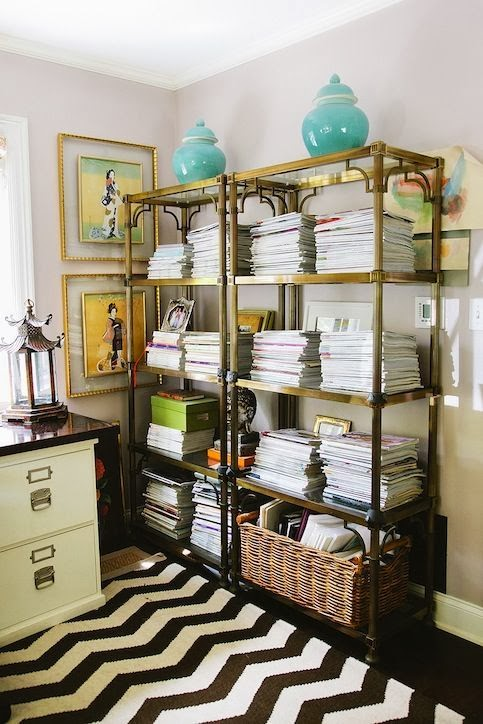An Option To Books Le Catchs Marlien Rentmeester Former Lucky Fashion Editor Uses A Pair Of Brass Etageres For Her Stacks Of Magazines Including Every