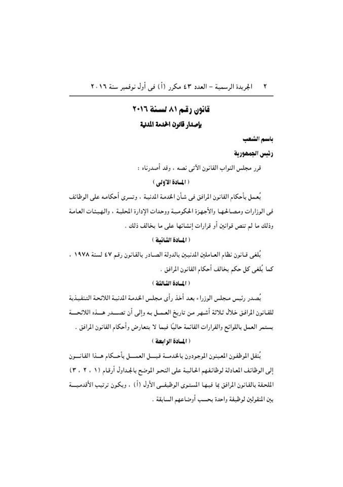 ☀ قانون الخدمة المدنية الجديد الصادر برقم 81 لسنة 2016 بعد اعتمادة من رئاسة الجمهورية