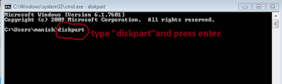 type diskpart in command prompt